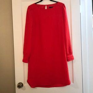 J. Crew Long Sleeve Red Shirt Dress Sz 8 Tall